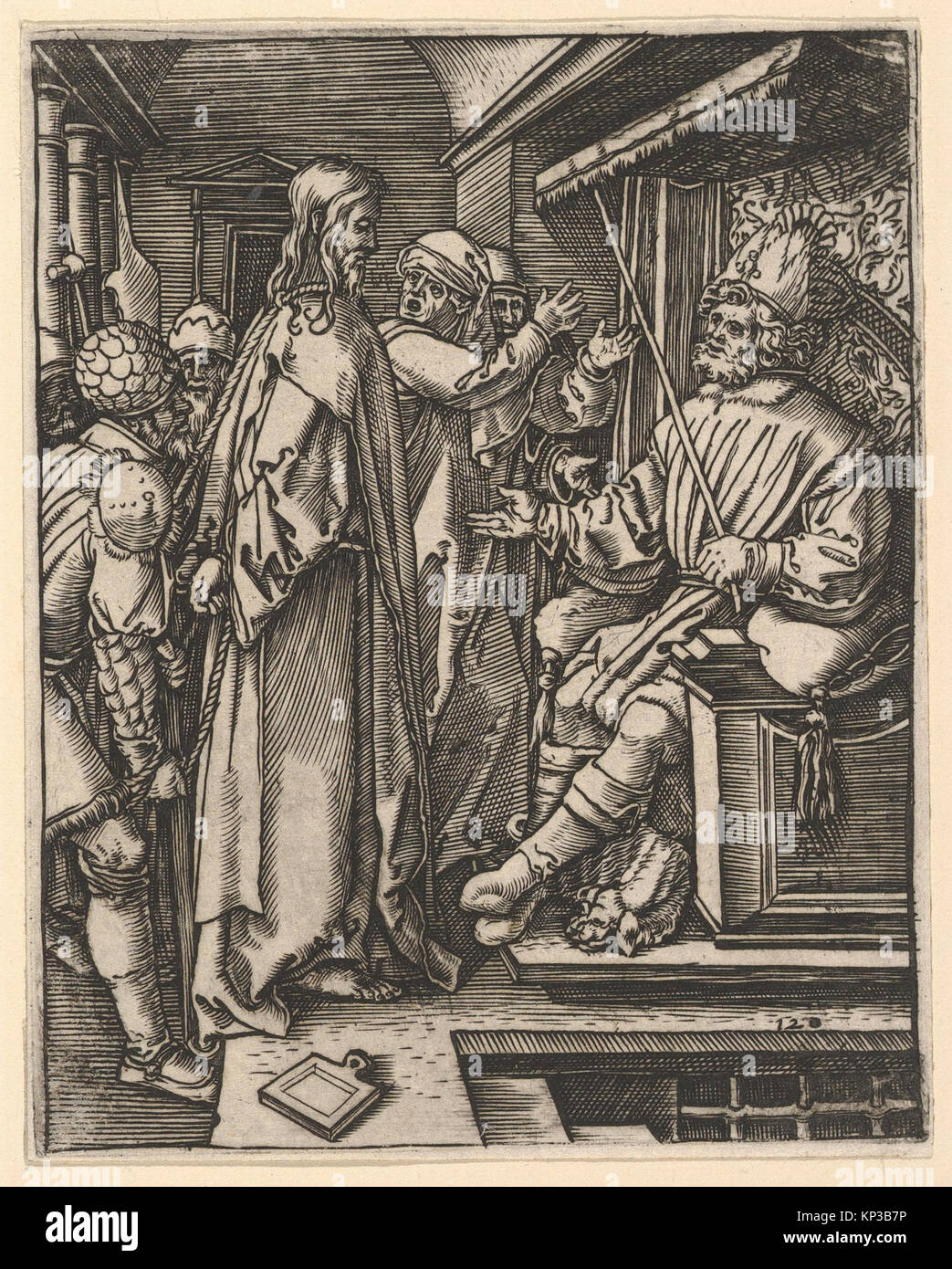 Christ standing, hands tied behind back, before Herod seated on throne, after DC3BCrer MET DP820317 342720 - Stock Image