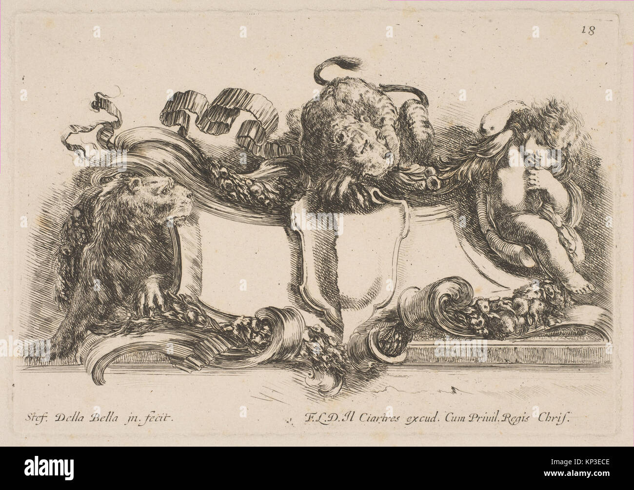 Cartouche Containing an Empty Shield Surmounted by a Lion and Framed by a Lion and a Child MET DP817958 377620 Artist: - Stock Image