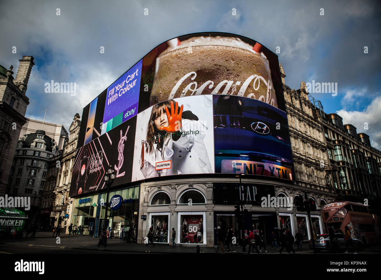 Picadilly Cirrcus, London,UK, 8th December 2017, famous digital advertising board at picadilly circus in London - Stock Image
