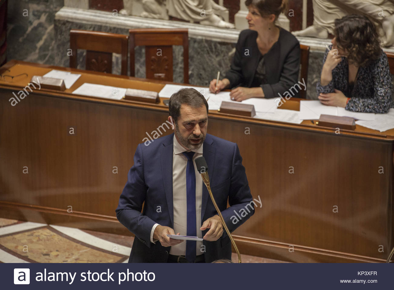 Paris, France. 12th Dec, 2017. French Junior Minister for the Relations with Parliament Christophe Castaner speaks - Stock Image