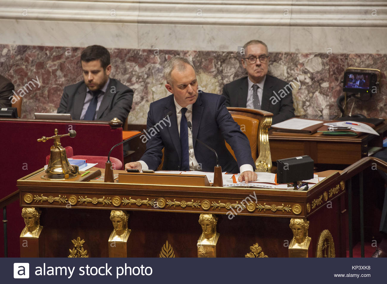 Paris, France. 12th Dec, 2017. French national assembly president Francois de Rugy is seen during a session of questions - Stock Image