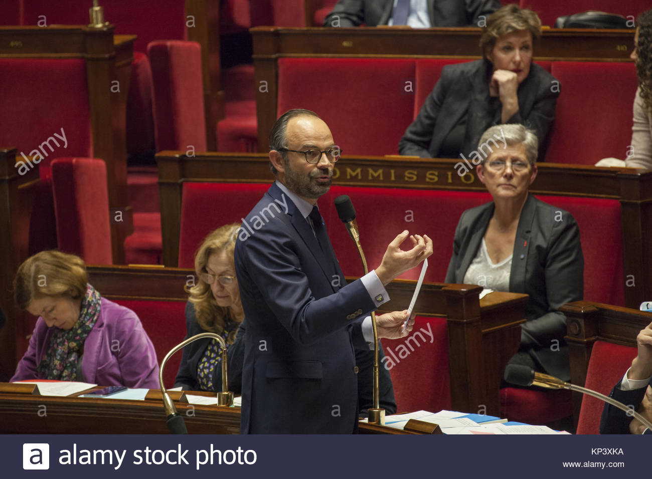 Paris, France. 12th Dec, 2017. French Prime Minister Edouard Philippe speaks during a session of questions to the - Stock Image