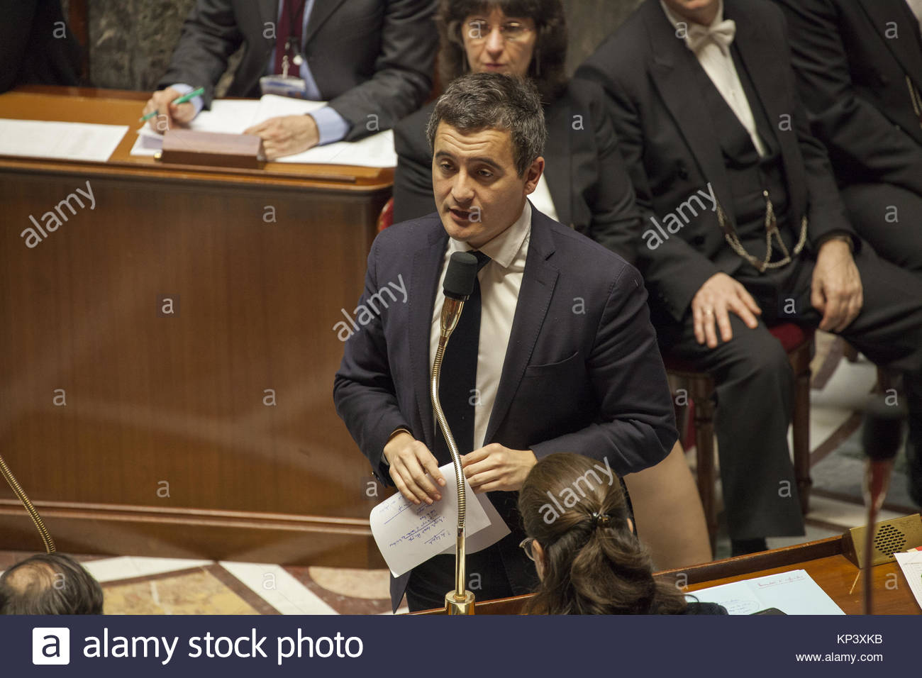 Paris, France. 12th Dec, 2017. French Minister of Public Action and Accounts Gérald Darmanin speaks during - Stock Image