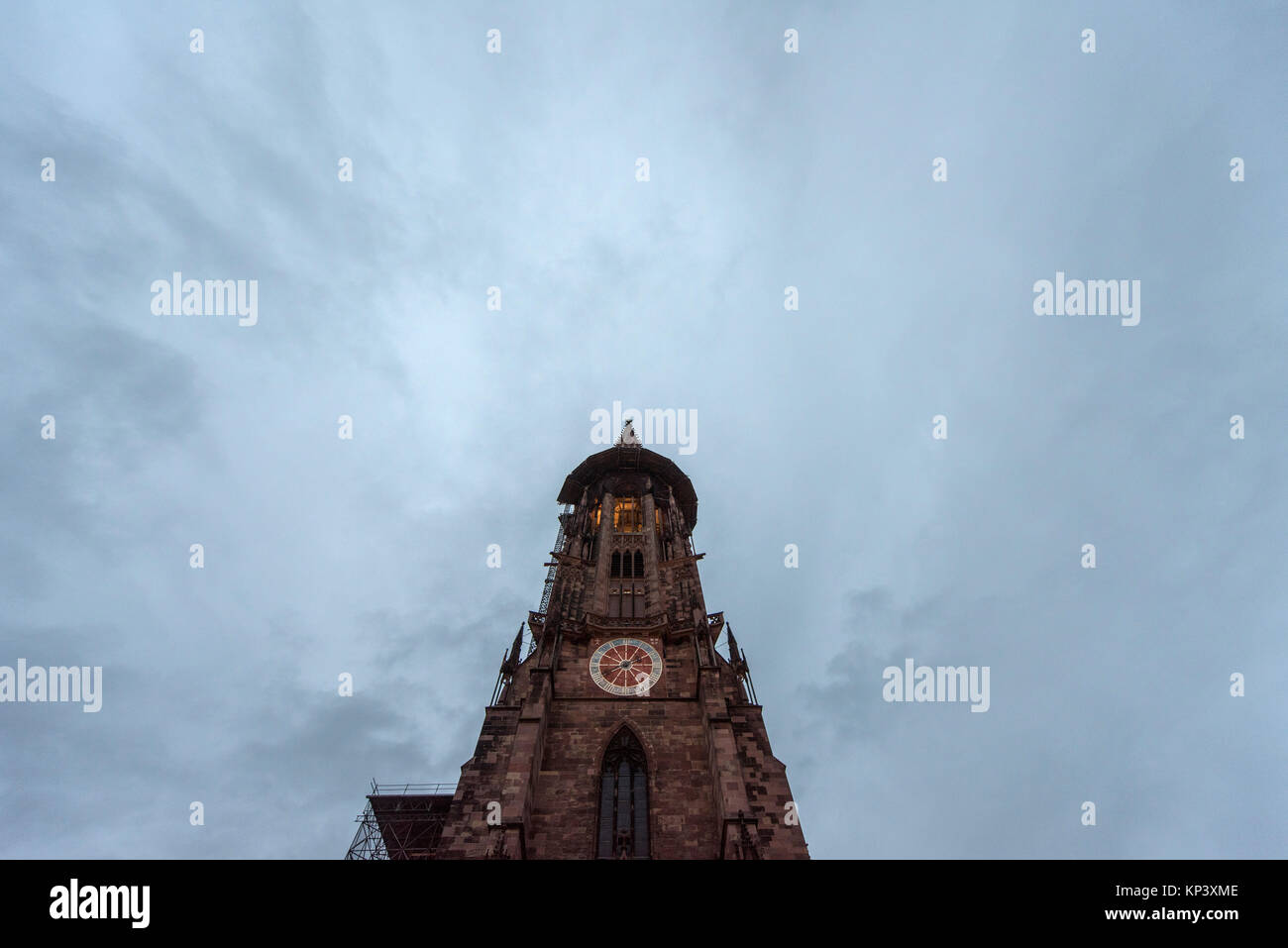 Dark clouds move above the Minster inFreiburg, Germany, 28 November 2017. The Mannheim public prosecutor's - Stock Image