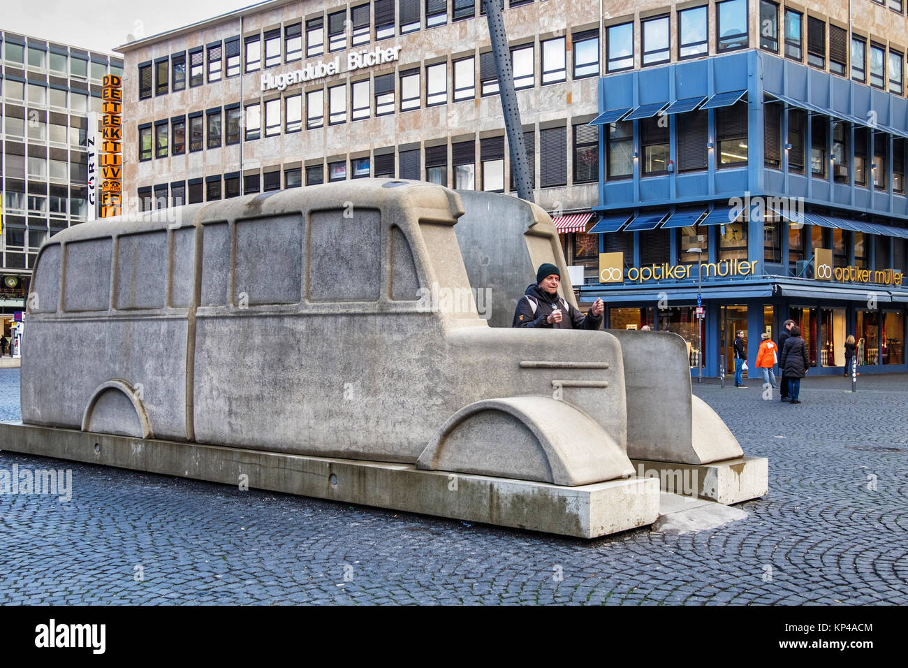 Frankfurt,Germany.The monument of the grey Busses memorial commemorates the murder of handicapped & ill people by Stock Photo