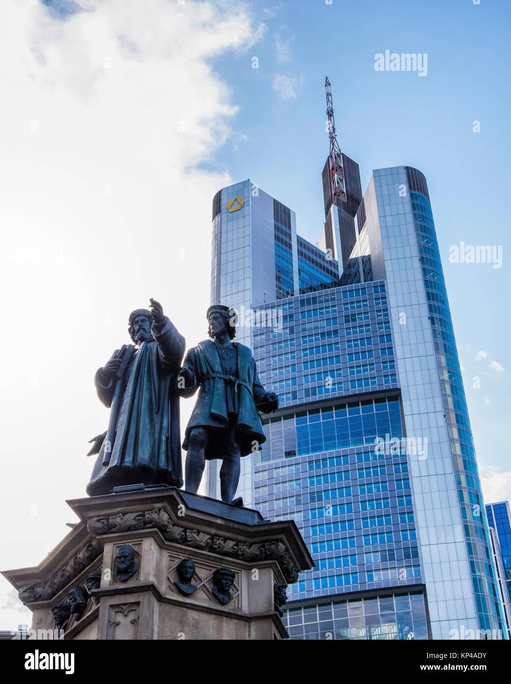 Frankfurt,Rossmarkt square. Johannes Gutenberg memorial statue honours the inventor of the printing press in front - Stock Image