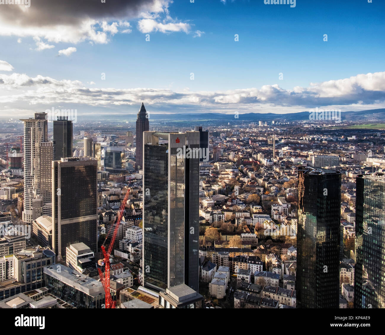 Frankfurt,Germany.Aerial view from Helaba Main Tower of city centre. Westend Tower,PWC  High-rise,FBC tower,Messeturm,Sparkasse,two Stock Photo