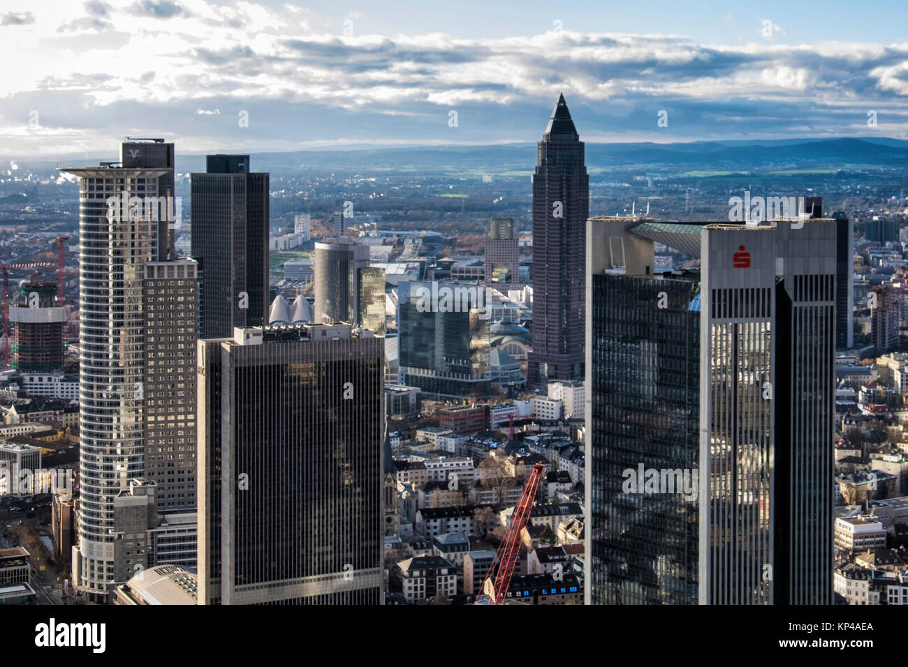 Frankfurt,Germany.Aerial view from Helaba Main Tower. Westend Tower,PWC  High-rise,FBC tower,Messeturm,Sparkasse Stock Photo