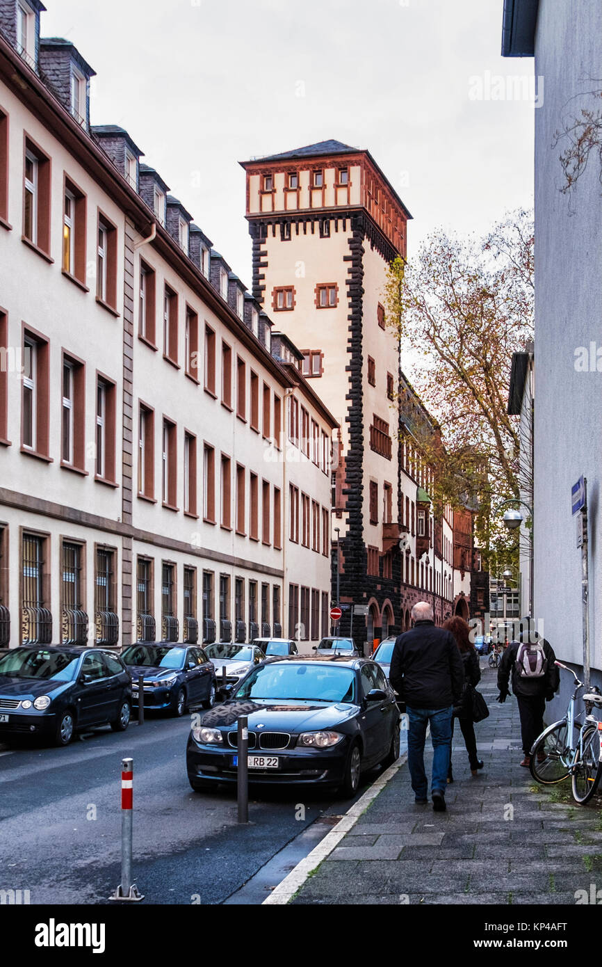 Frankfurt,Germany.View of historic old medieval style buildings. Part of the official City hall offices - Stock Image