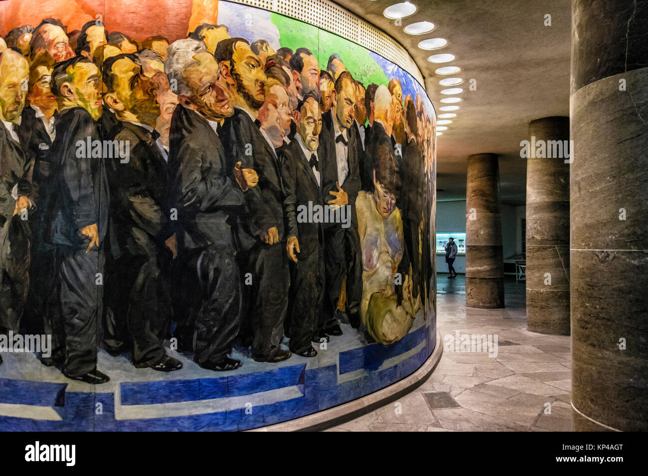 """Frankfurt am Main, Hesse.Paulskirche,St. Paul's Church Foyer with mural """"The Path of the Representatives to St. - Stock Image"""