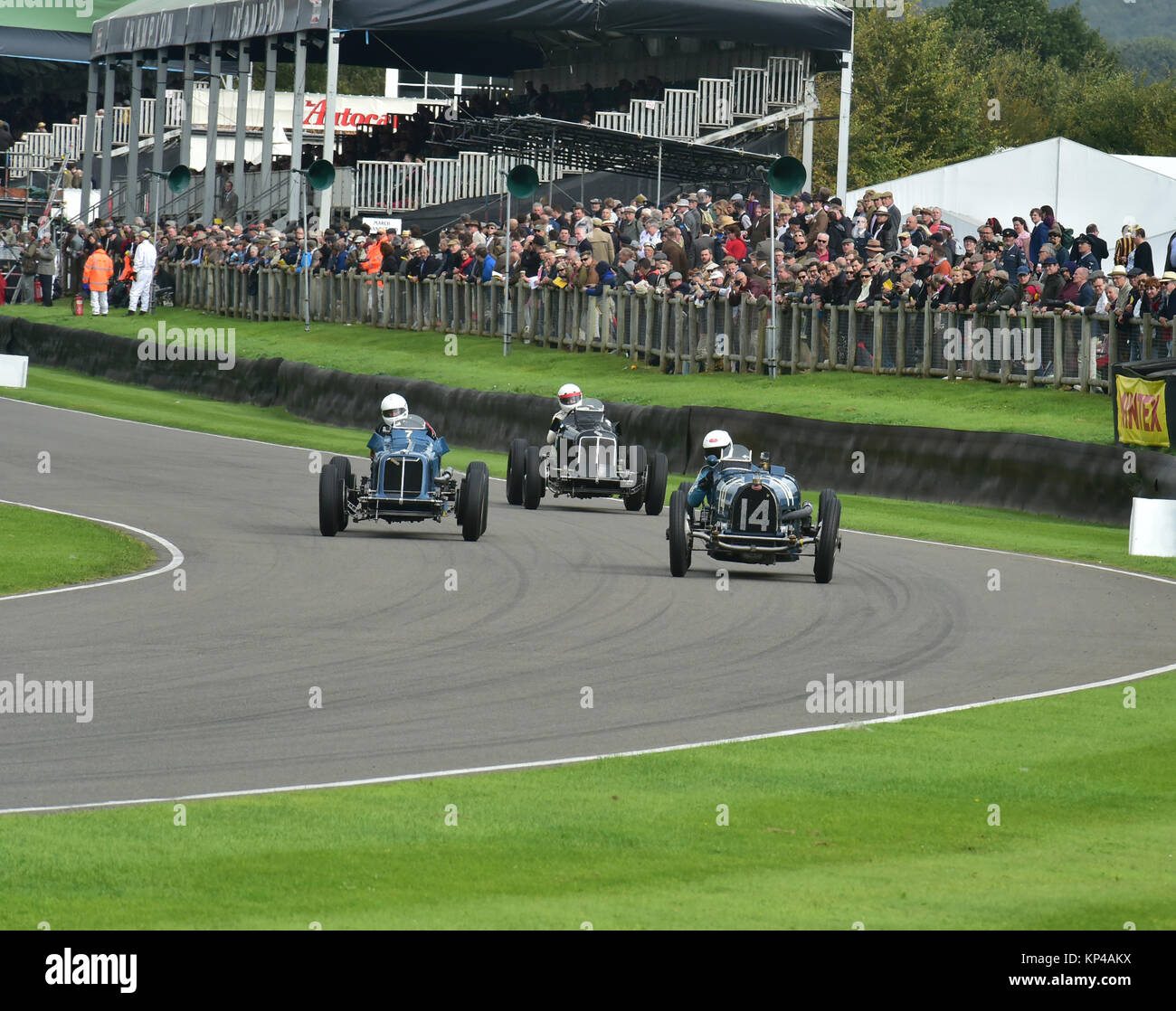 Charles Knill-Jones, Bugatti Type 59, leads two ERA's, Goodwood Trophy, Goodwood Revival 2015, 50's, 60's, - Stock Image