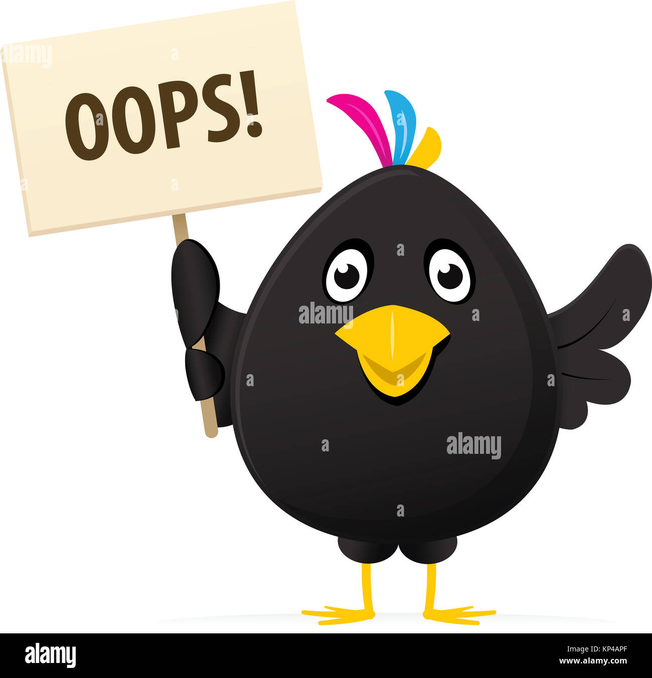 illustrated image of a black bird holding a oops placard - Stock Image