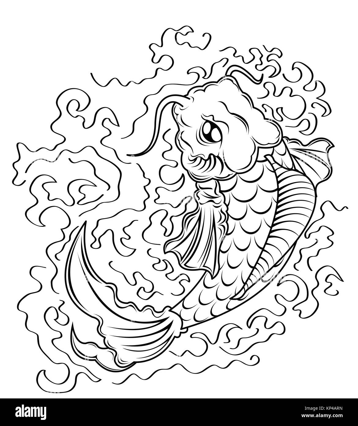 carp black and white stock photos images alamy Nineteenth Century Fishing koi fish vector stock image