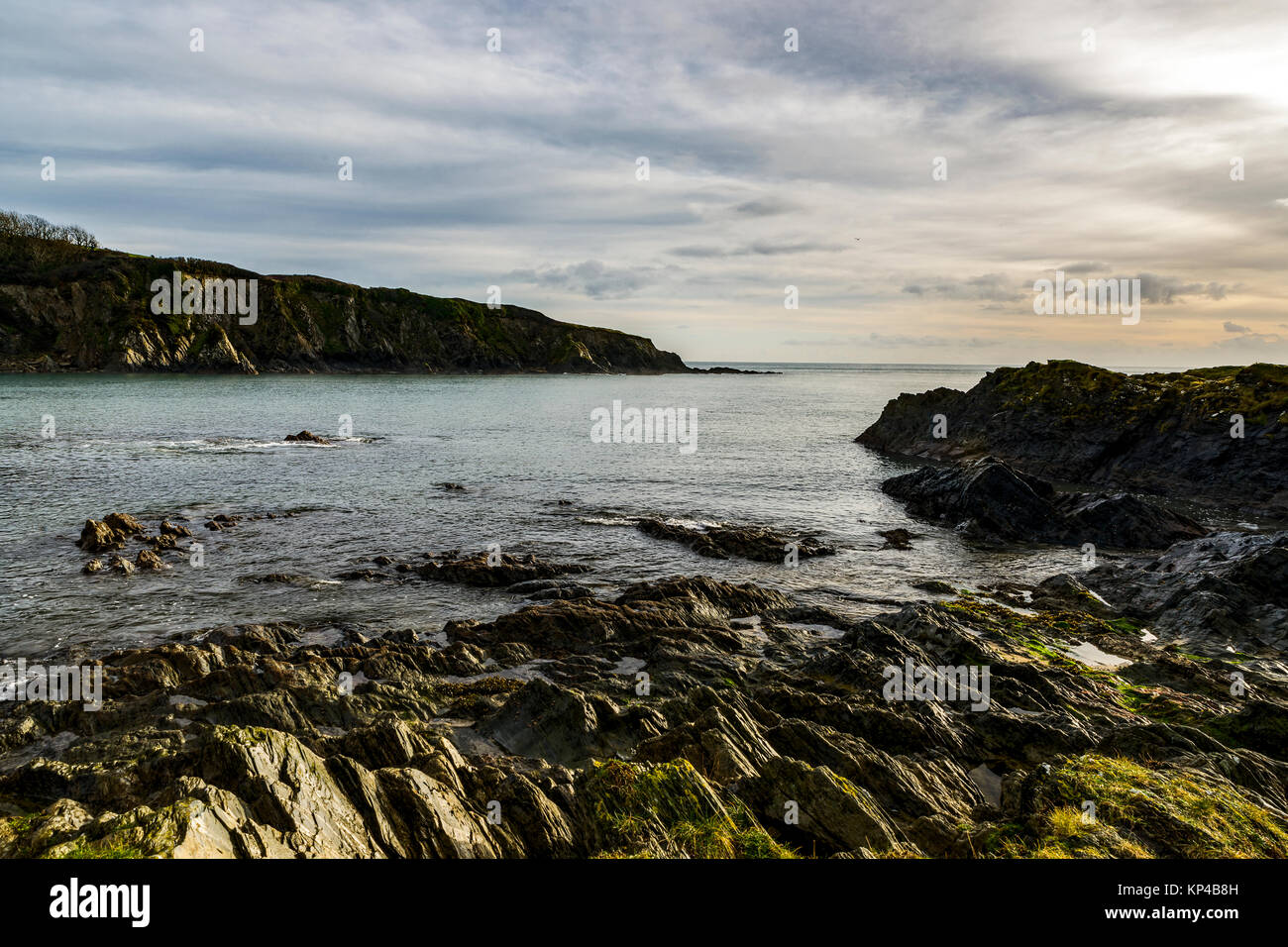 Polridmouth Cove, Menabilly  featured in the Daphne Du Maurier novel Rebecca. Here it can be seen on a cold winters - Stock Image