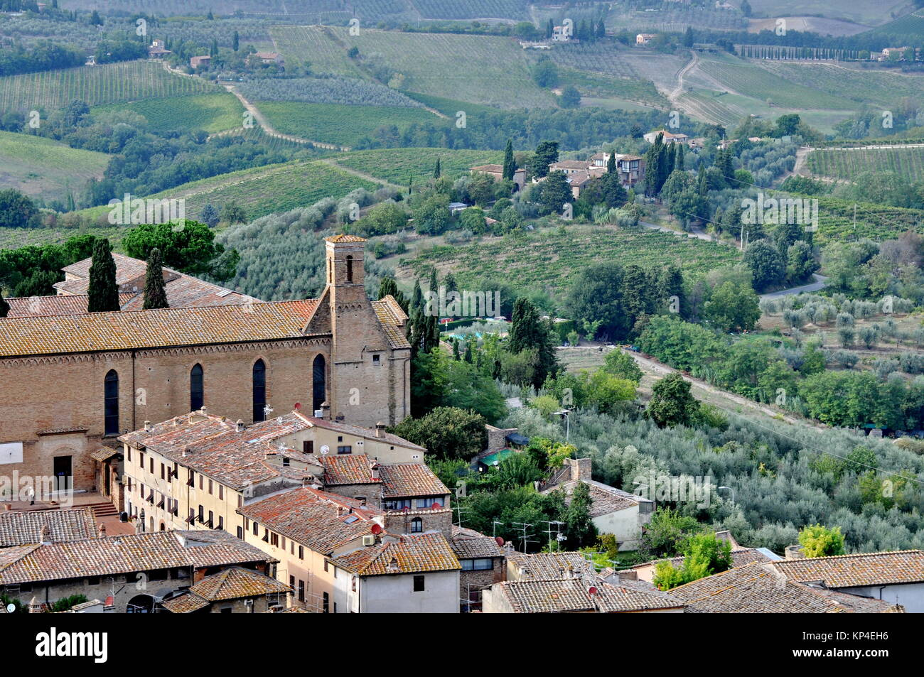 San Gimignano a medieval town in Tuscany, Italy - Stock Image
