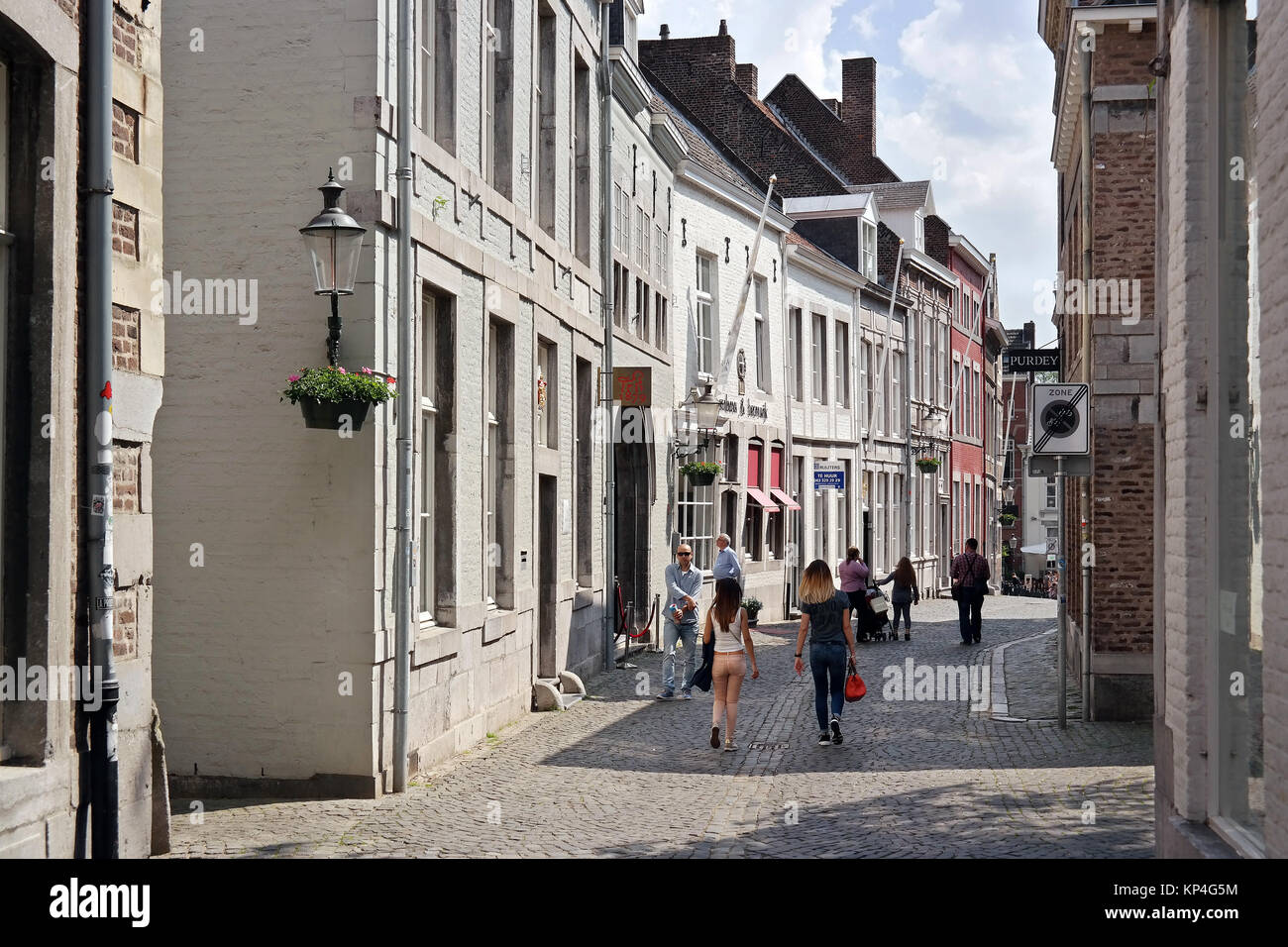 Pedestrian zone, shopping district in the city centre of Maastricht - Stock Image
