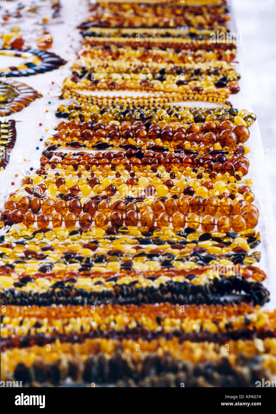 AMBER Necklace for sale at a street shop in Riga Latvia 2010 - Stock Image
