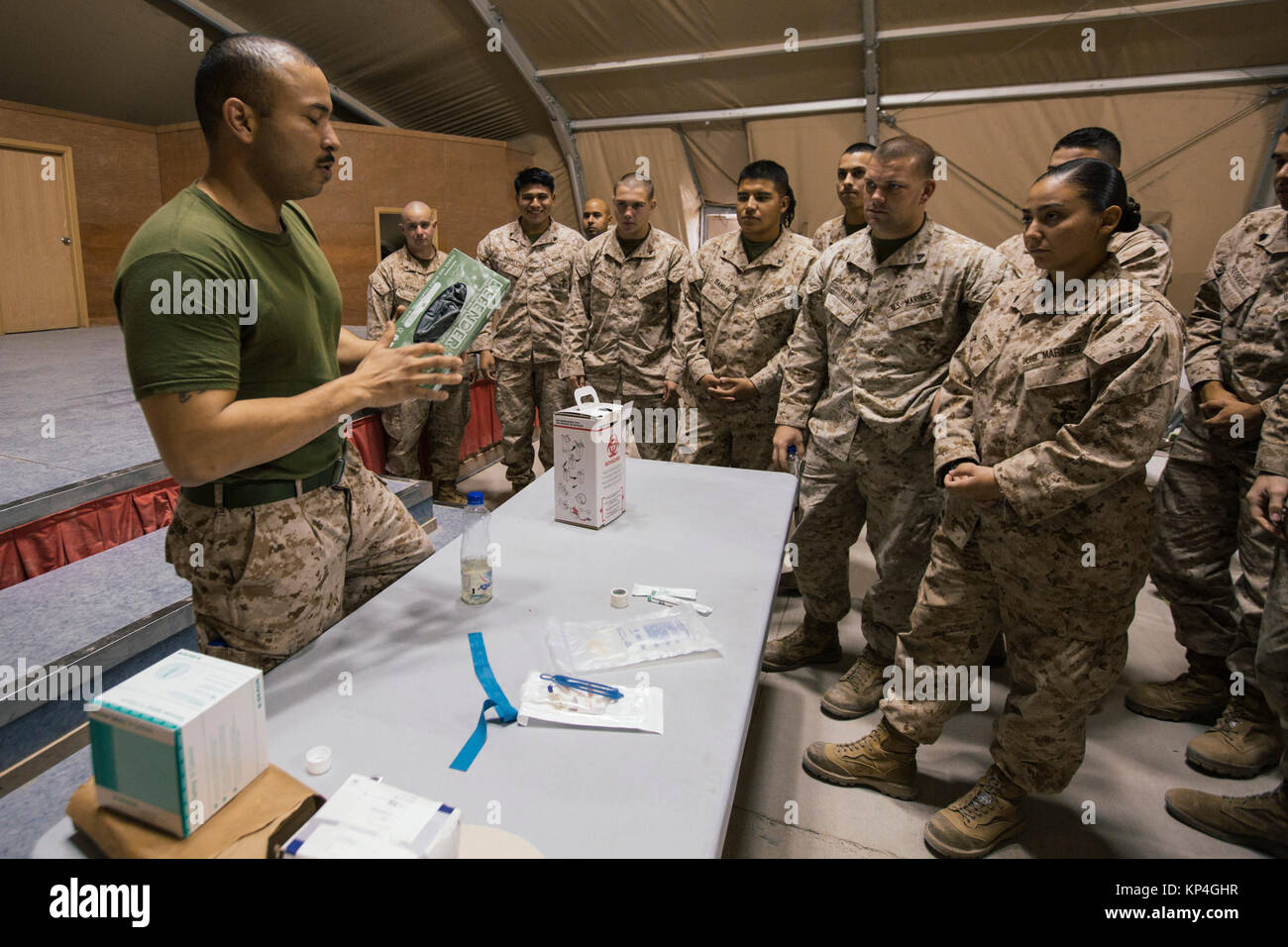 U.S. Navy Hospital Corpsman 1st Class Roberto C. Garcia, Ground Combat Element, Special Purpose Marine Air-Ground Stock Photo