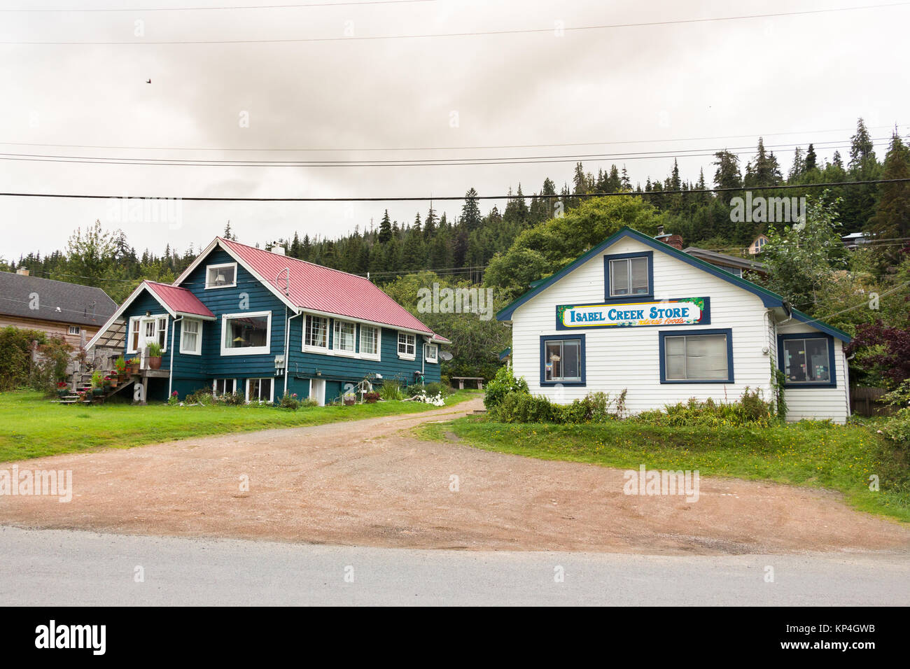 Queen Charlotte Island, Canada - August 25th, 2017: The Isabel Creek Store located at Wharf St in Queen Charlotte - Stock Image