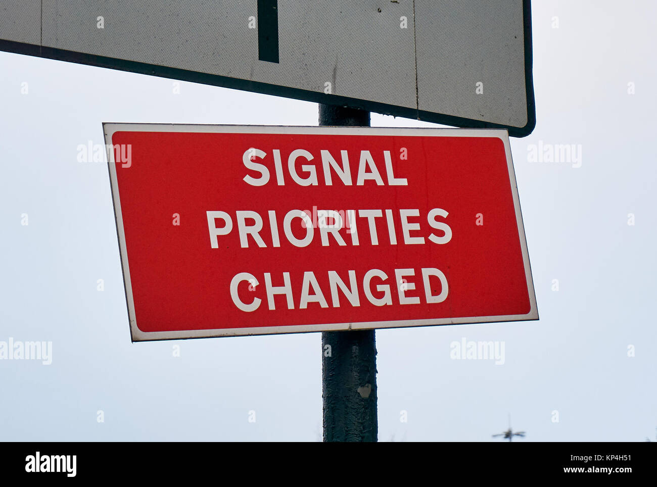 Warning road sign Signal Priorities Changed. - Stock Image