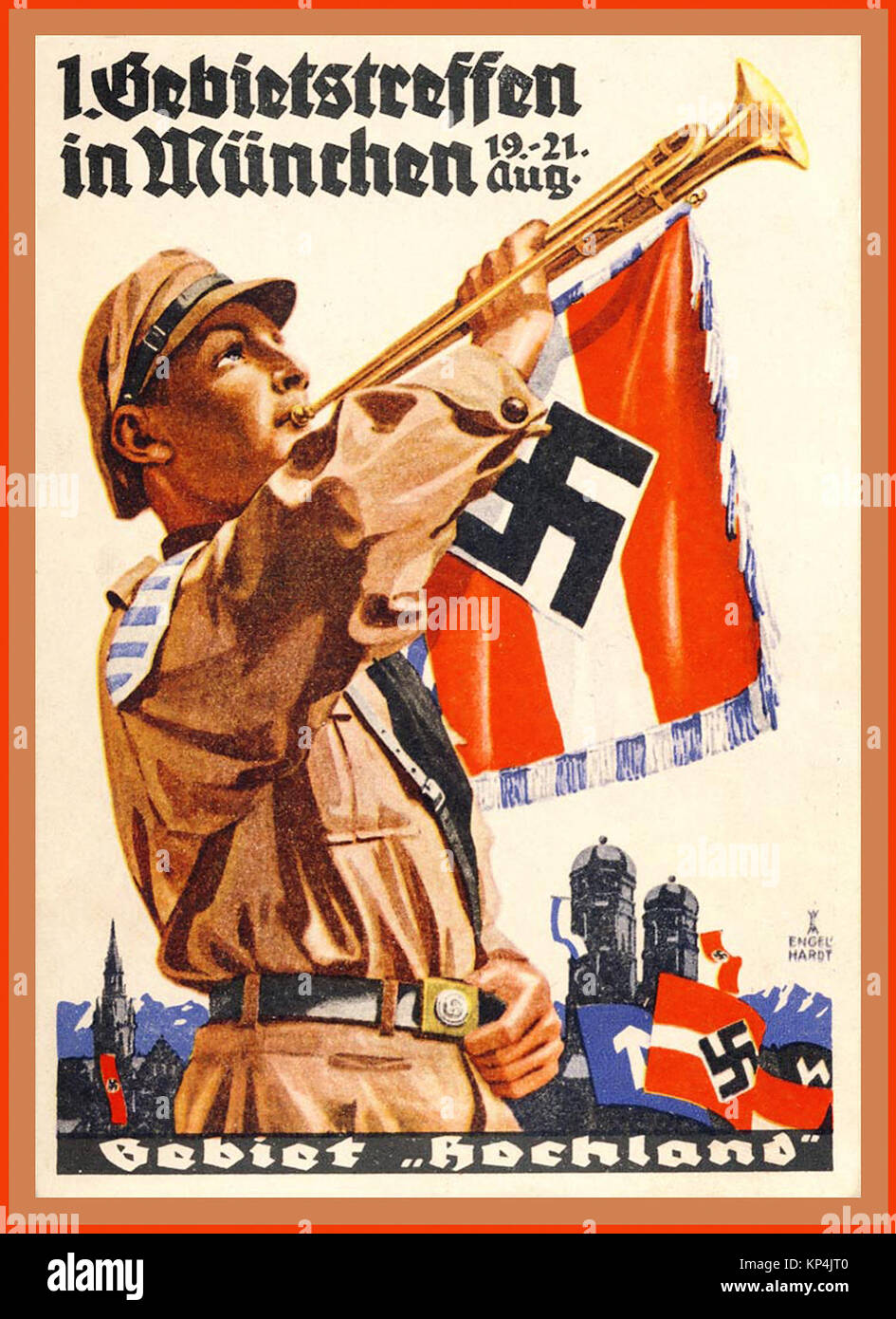 1930's Vintage Hitler Youth Poster advertising a parade meeting at Munich 19-21st August - Stock Image