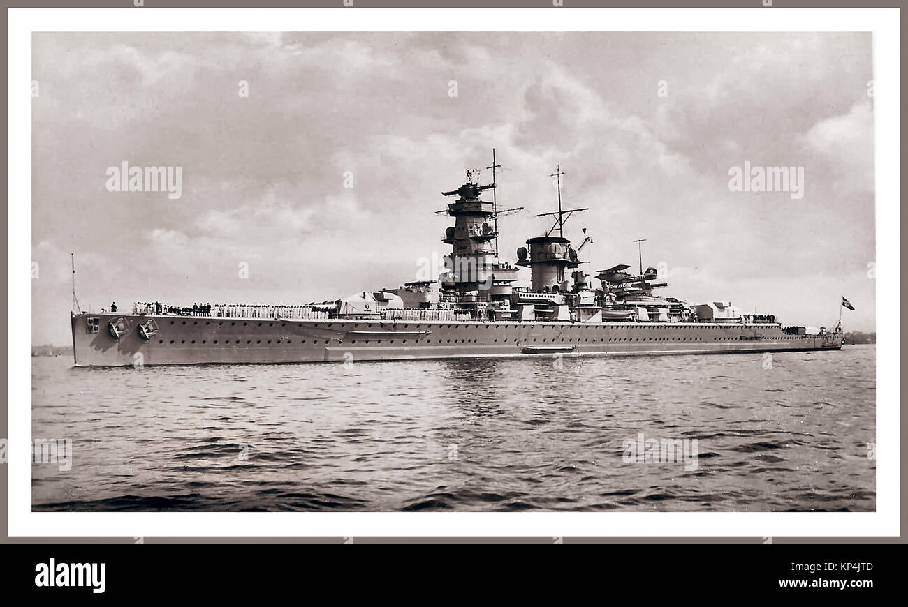 GRAF SPEE Vintage pre-WW2  B&W toned image of Nazi Germany Battle Cruiser Admiral Graf Spee in 1936 with all - Stock Image