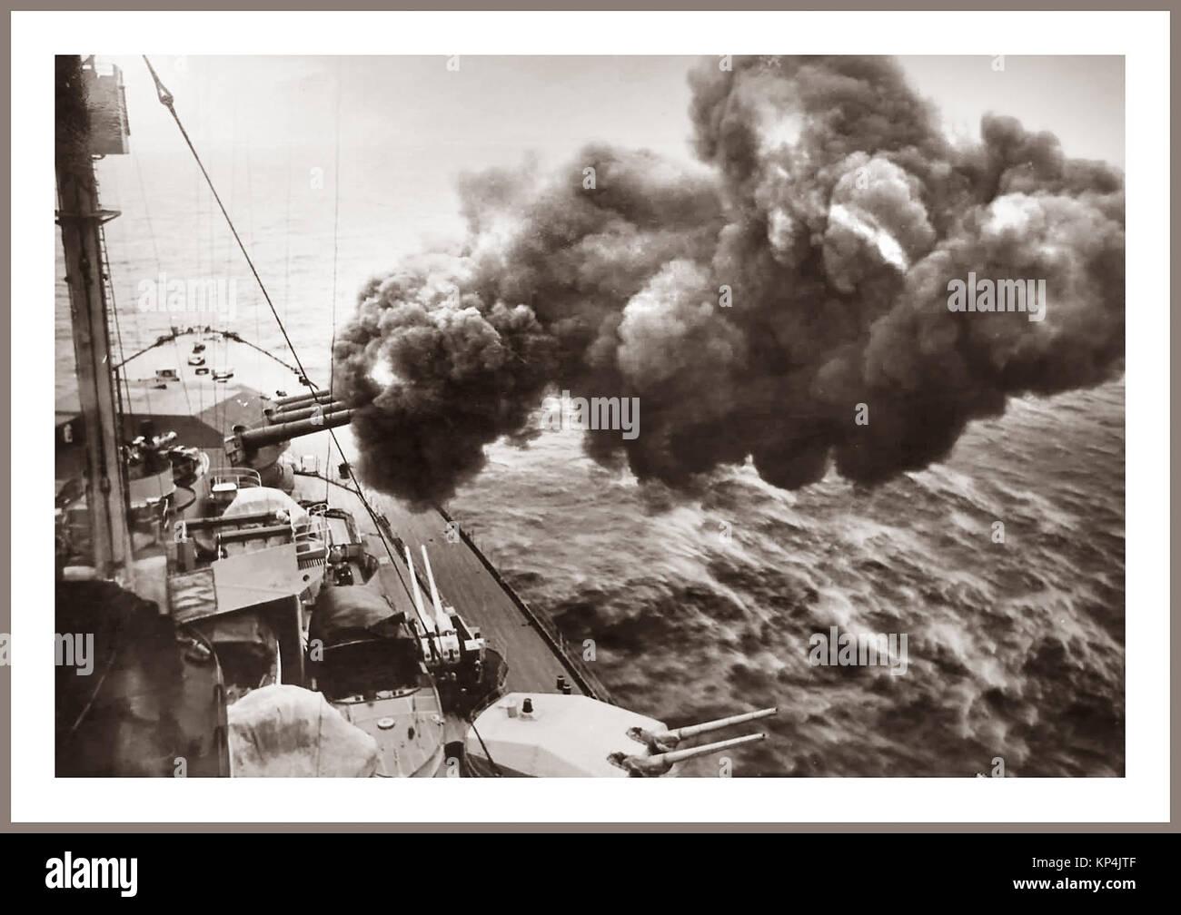 Vintage World War 2 1940's WW2 image of German (Bismark-class) battleship 'Tirpitz' firing her 380 mm - Stock Image