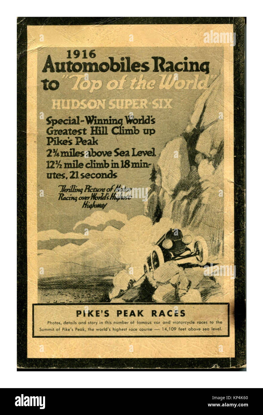 1900's Vintage 1916 'Pikes Peak' Automobile Racing Hill Climb 'Top of the World' Competition poster - Stock Image