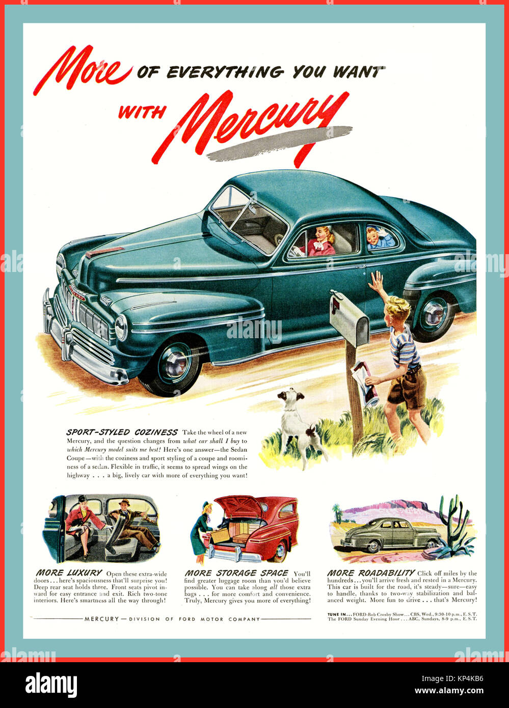 1940's American Car Vintage American 1946 Mercury Eight Coupe car automobile - Stock Image