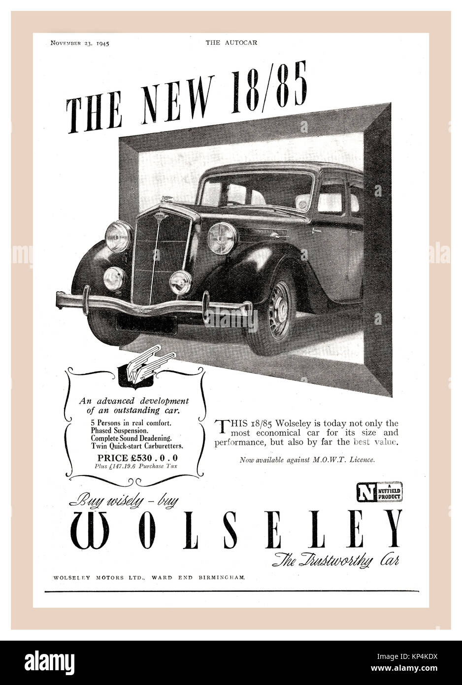 Vintage 30's /40's Autocar page advertisement for Wolseley 18/85 (1938 to 1948)  motorcar The Wolseley 18/85 - Stock Image
