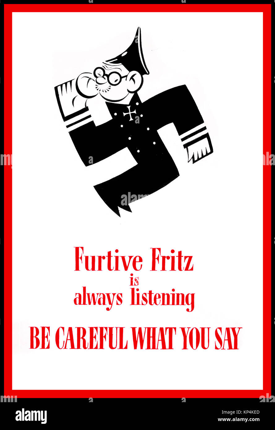 1940's WW2 British UK Propaganda poster Anti-rumour and careless talk 'Furtive Fritz is always listening - Stock Image