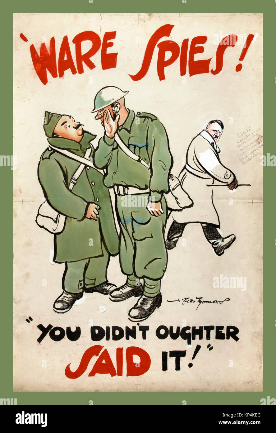 1940's WW2 UK British propaganda poster featuring British Army Tommies soldiers discussing anti-rumour and careless - Stock Image