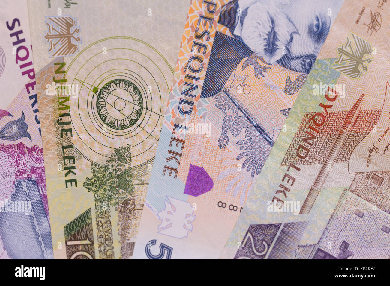 Albanian currency Lek banknotes of 2000, 1000, 500 and 200 denomination, horizontal - Stock Image