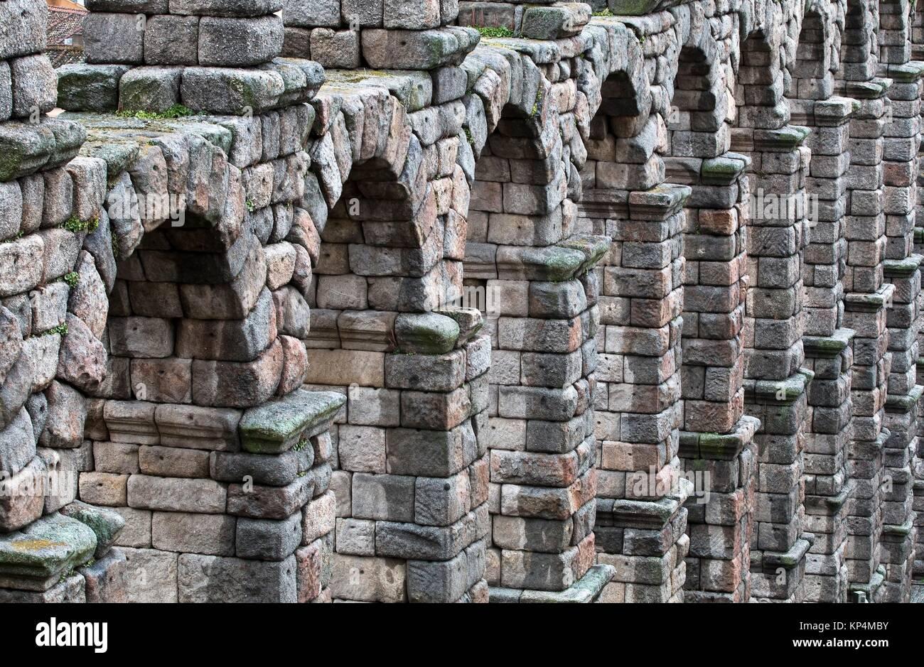 Acueducto romano de Segovia - Castilla-León - España - Europa. - Stock Image