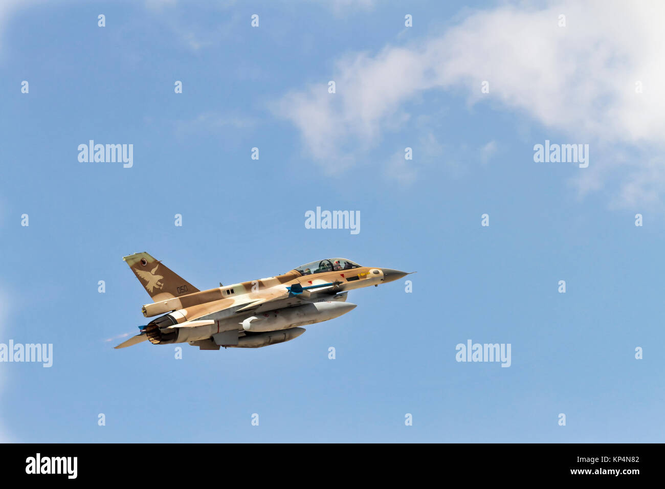 """Israeli Air Force (IAF) General Dynamics F-16D in flight with a blue sky background. Photographed at the """"Blue-Flag"""" - Stock Image"""