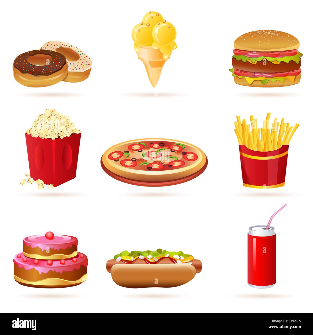 illustration of junk food icons on white background - Stock Image