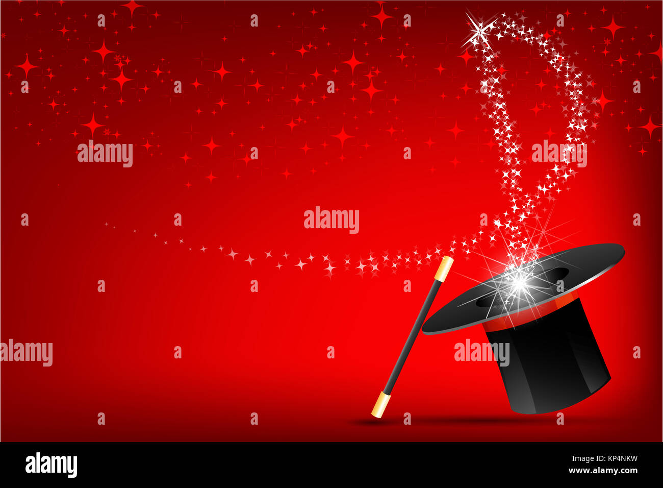 illustration of magic hat and stick on abstract background - Stock Image