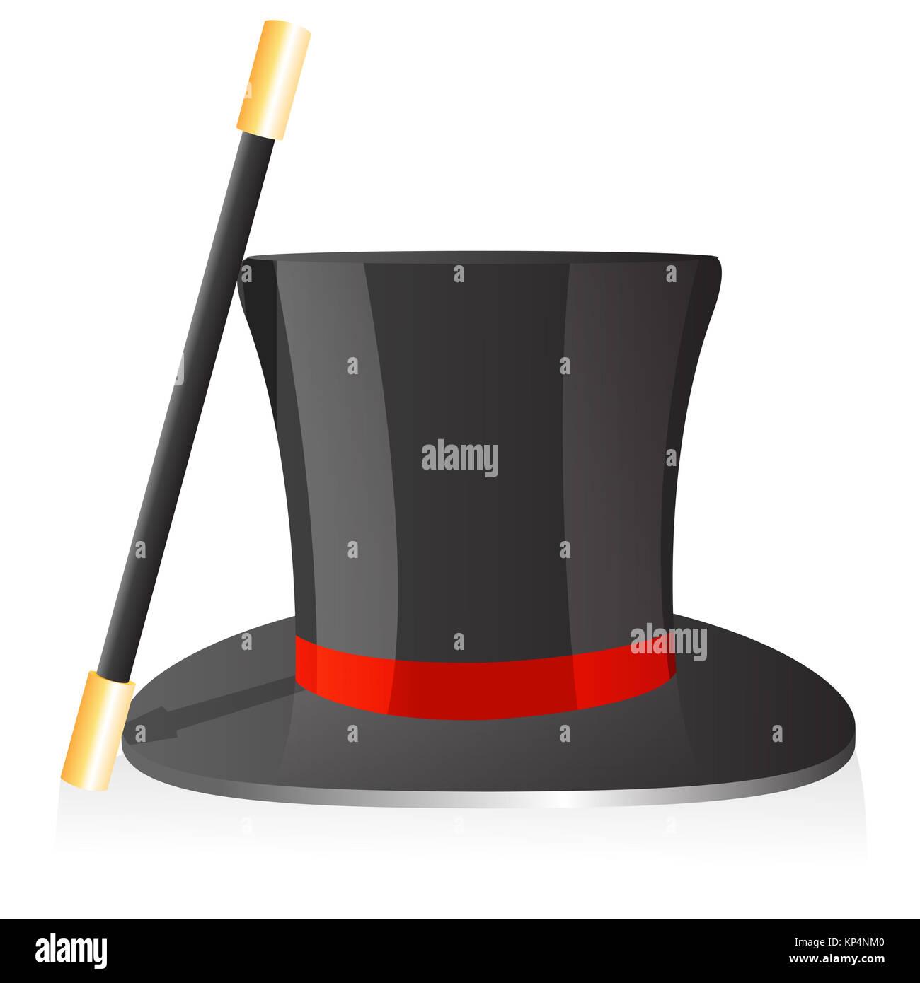 illustration of magic hat and wand on isolated background - Stock Image