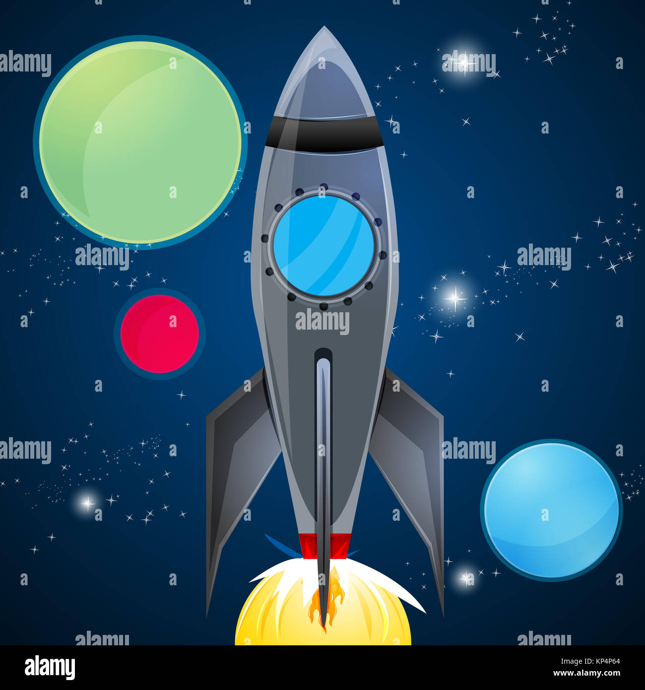 illustration of rocket launcher in sky on abstract background - Stock Image