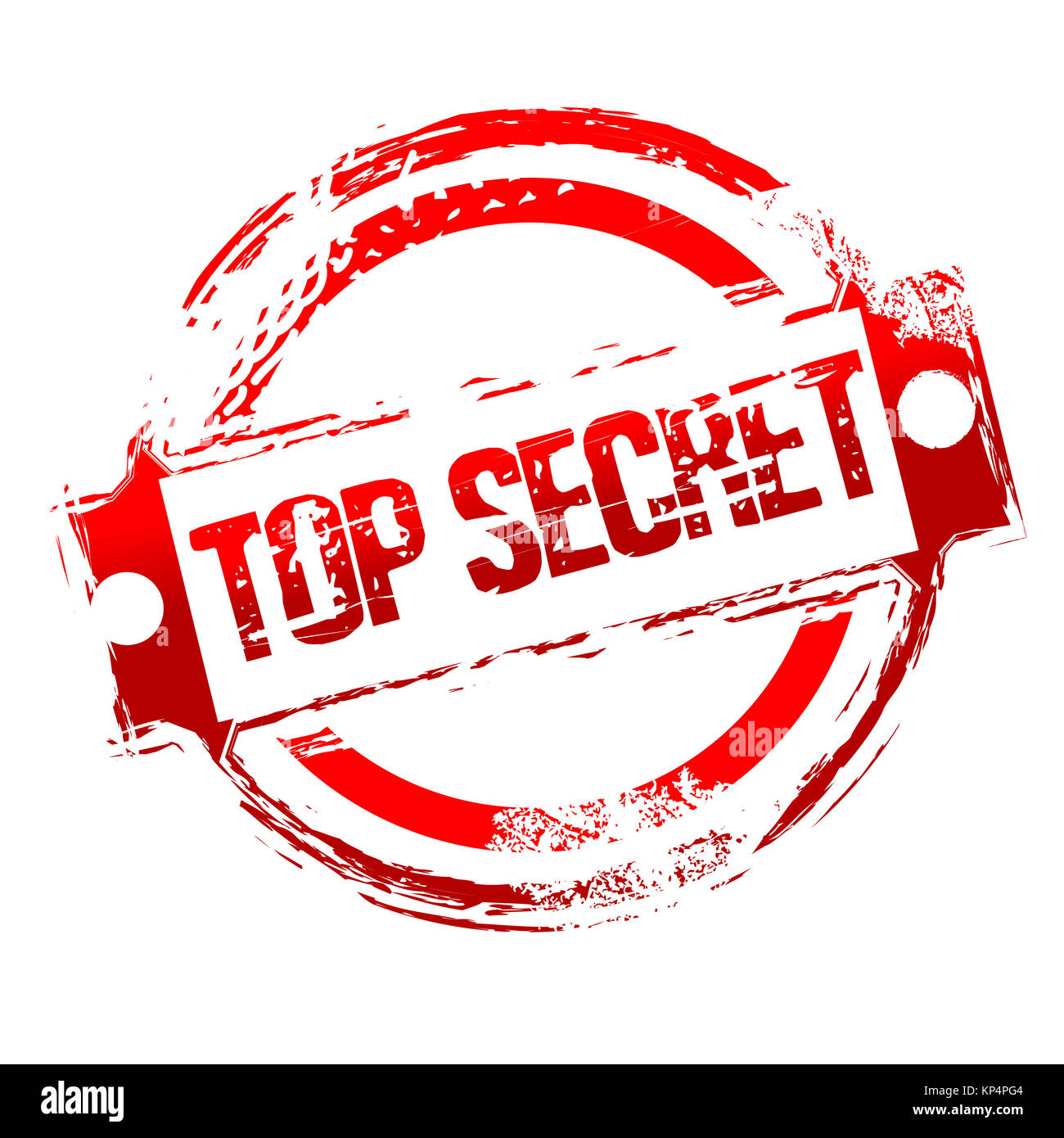 illustration of top secret stamp on isolated background - Stock Image
