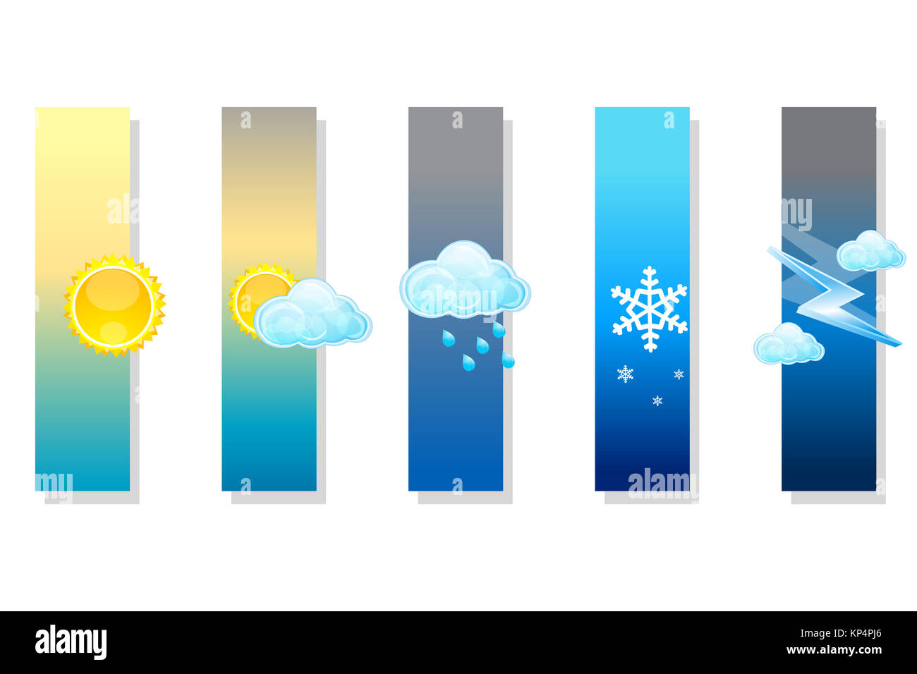 illustration of types of weather on white background - Stock Image
