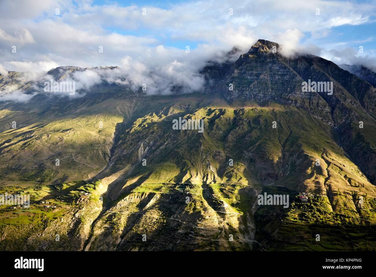 View from Shashur Gompa, Lahaul Valley, Keylong, Himachal Pradesh, India. - Stock Image