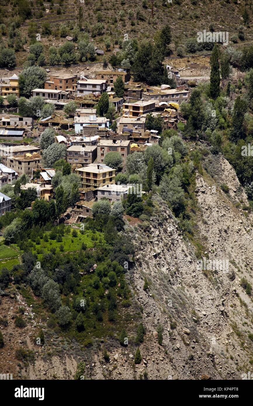 View of Keylong from Kardang Gompa, Lahaul Valley, Himachal Pradesh, India. - Stock Image