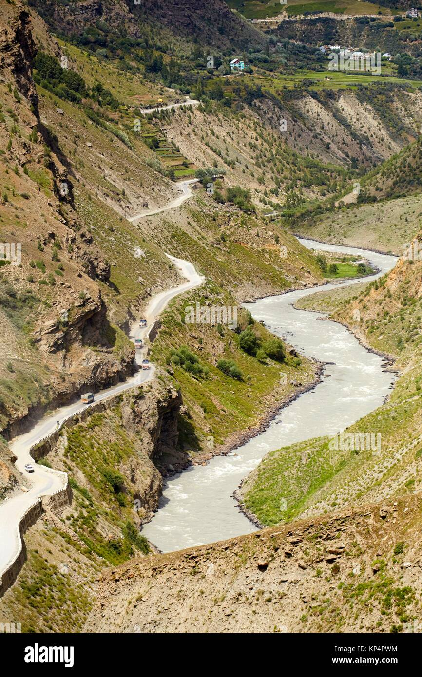 Bhaga River, Gushal, Lahaul Valley, Himachal Pradesh, India. - Stock Image