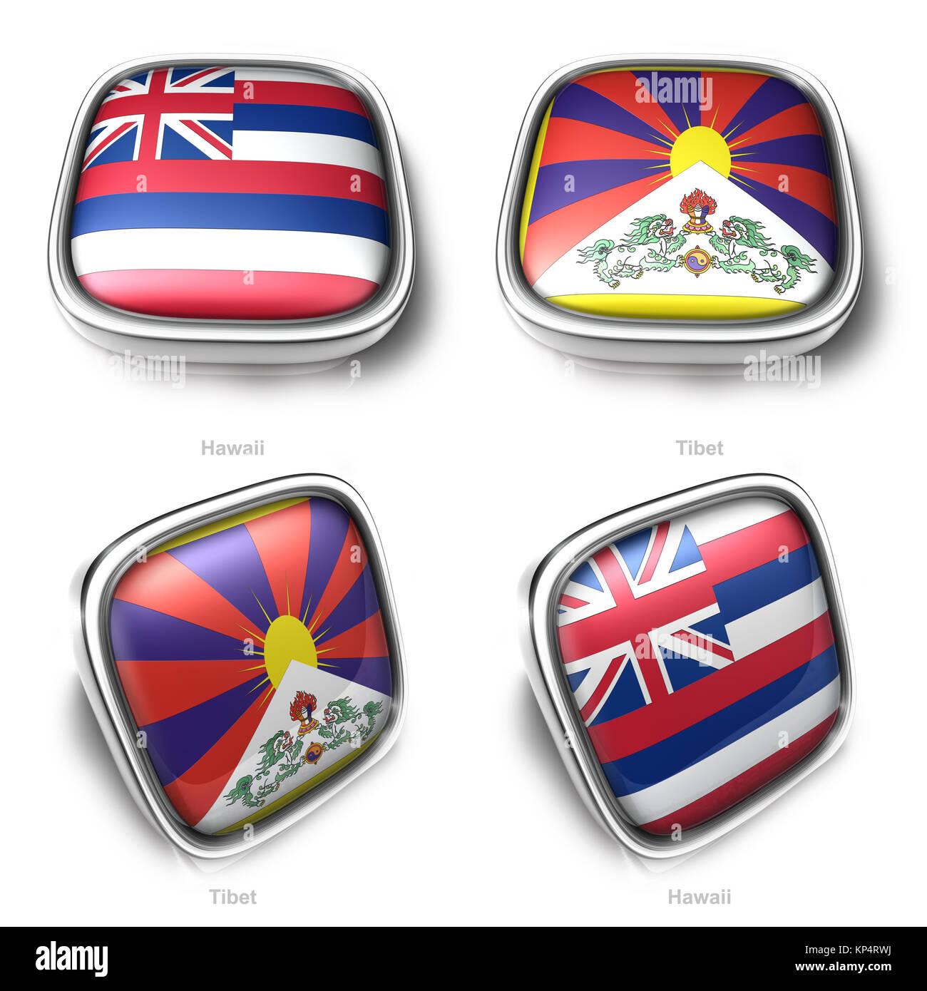 3d Hawaii and Tibet flag button - Stock Image