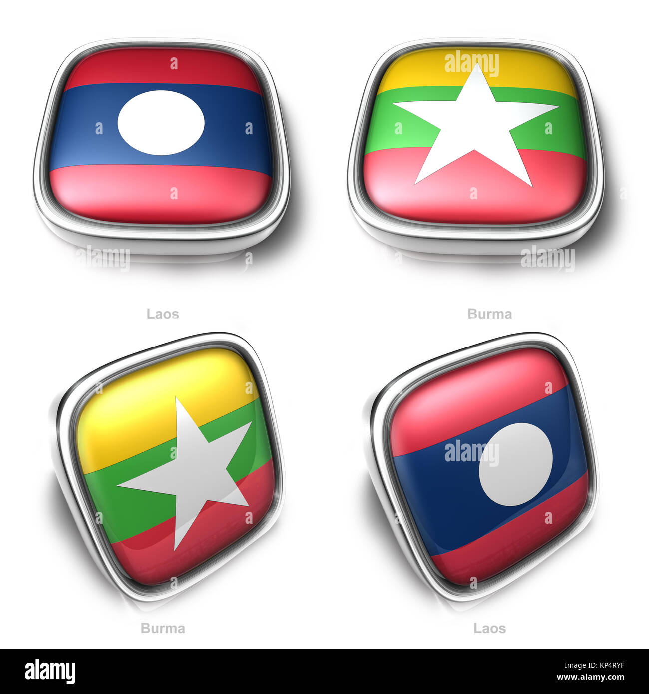 3d laos and myanmar flag button - Stock Image