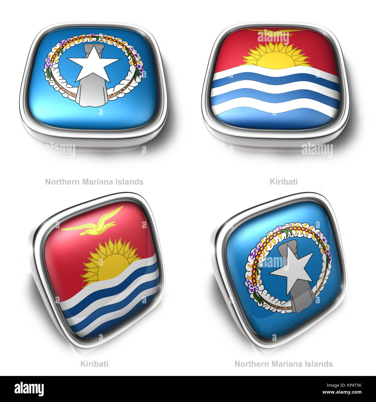 3d Northern Mariana Islands and Kiribati flag button - Stock Image