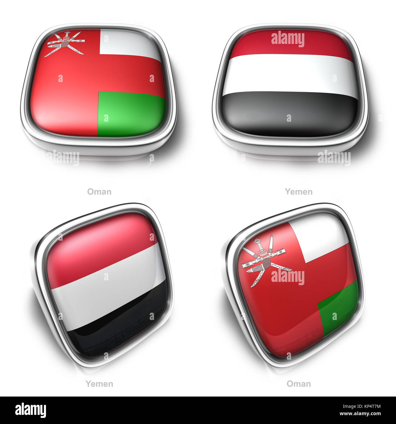 3d oman and yemen flag button - Stock Image