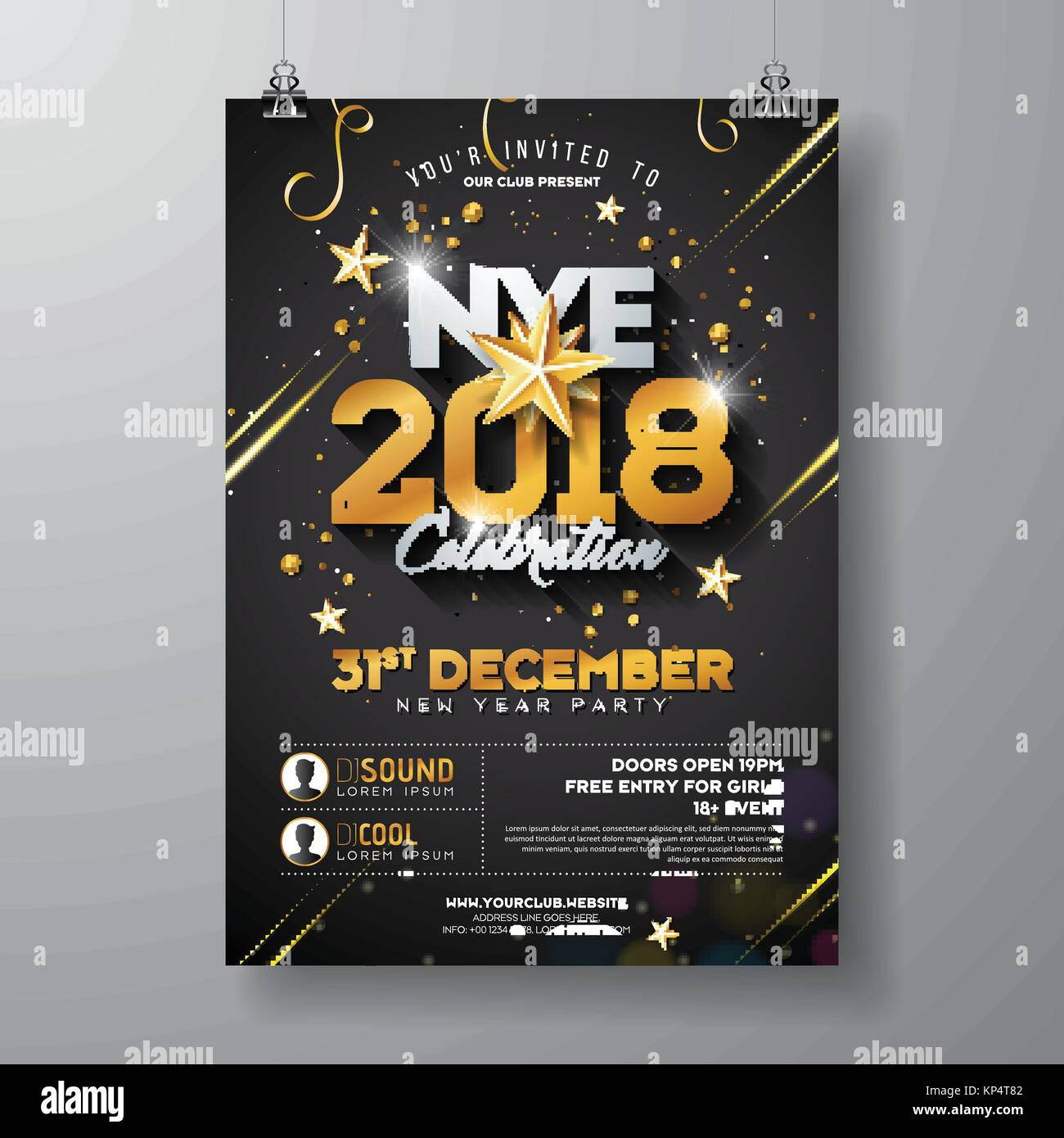 2018 new year party celebration poster template illustration with shiny gold number on black background vector holiday premium invitation flyer or promo
