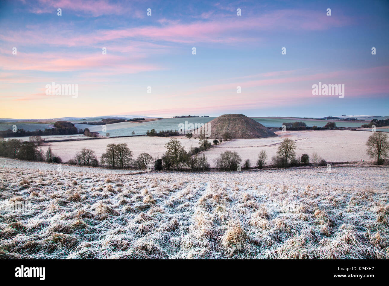 A frosty morning at Silbury Hill in Wiltshire. Stock Photo